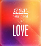 All you need is love typographic design. Stock Image