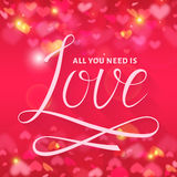 All you need is love. Vector lettering card. Stock Images