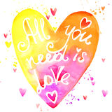 All you need is love watercolor rainbow lettering Royalty Free Stock Photo
