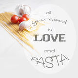 All you need is pasta typographic design Royalty Free Stock Photography