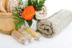 All you need for the sauna. Towels, bath salts and sauna tools Royalty Free Stock Photo