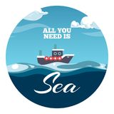 All you need is sea postcard design. Sea illustration with sample text and boat royalty free illustration