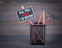 All You Need To Know. A small blackboard chalk and colored pencil on wood background.  Royalty Free Stock Image