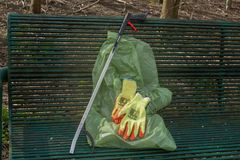 All you need to litter pick royalty free stock image