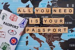 All you need is your passport slogan on europe map.
