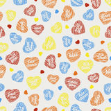 All yours, just you Seamless pattern with hearts and typograph Stock Photography