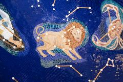 Leo - Zodiac. All Zodiac mosaic mural ine Sharjah Museum stock images