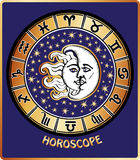 All zodiac sign in Horoscope circle.Sun and Moon Stock Image