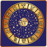 All zodiac sign,moon,sun.Horoscope circle Royalty Free Stock Image