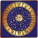 All zodiac sign,moon,sun.Horoscope circle Royalty Free Stock Image