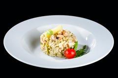 alla茄子背景烹调新鲜的意大利norma荷兰芹意大利面食意粉蕃茄传统白色 与shri的开胃乳脂状的意大利煨饭 库存图片