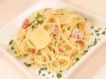 Alla Carbonara 2 del espagueti Imágenes de archivo libres de regalías