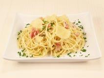 Alla Carbonara 3 del espagueti Imágenes de archivo libres de regalías
