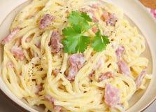 Alla Carbonara degli spaghetti Fotografie Stock