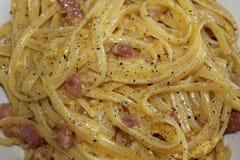 Alla Carbonara degli spaghetti Fotografia Stock