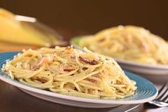 Alla Carbonara van de spaghetti Stock Afbeelding