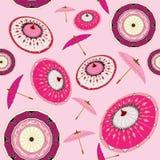 Alla de rosa paraplyer i vinden stock illustrationer