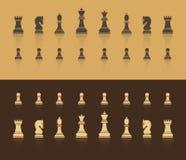 Alla diagram är schack I bruna skuggor med en skugga i form av reflexion Plan stil stock illustrationer