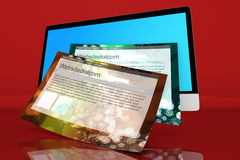 Alla ett modernt i en dator med generiska websites Arkivbild