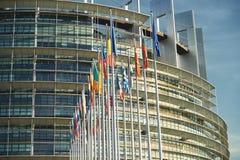 Alla europeiska fackliga flaggor Strasbourg Strasburg Arkivfoton