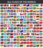 Alla flaggor av världen i alfabetisk ordning Vinkande stil stock illustrationer