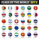 Alla flaggor av världsuppsättningen 5 Cirkel och konvex design stock illustrationer