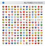 Alla flaggor för vektor för världsrunda glansiga - samling vektor illustrationer