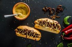 Alla gnäller hotdogs Fotografering för Bildbyråer