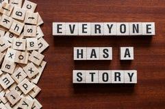 Alla har ett berättelseordbegrepp royaltyfria bilder