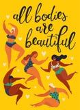 Alla kroppar är den härliga kropprealiteten Lyckliga flickor dansar Attraktiv överviktig kvinna också vektor för coreldrawillustr royaltyfri illustrationer