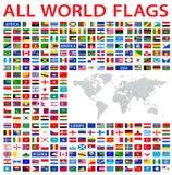 alla landsflaggor av världen stock illustrationer