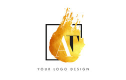 Alla lettera Logo Painted Brush Texture Strokes dell'oro Immagini Stock