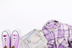 Alla moda moderni cercano il lookbook alla moda del blog di modo Disposizione piana di abbigliamento alla moda per la rivista del Immagine Stock Libera da Diritti