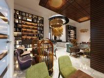 Alla moda nello stile moderno biblioteca-Antivari nello stile di art deco con mobilia e gli scaffali eleganti illustrazione di stock
