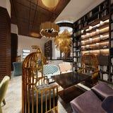 Alla moda nello stile moderno biblioteca-Antivari nello stile di art deco con mobilia e gli scaffali eleganti royalty illustrazione gratis