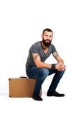 Alla moda sicuro Giovane uomo barbuto bello fotografia stock