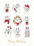alla några objekt för illustrationen för julhjortelement individuella skalar formattexturer till vektorn Arkivbilder