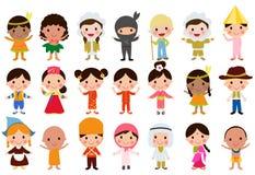 alla några objekt för ungar för den globala illustrationen för gemenskapelement individuella skalar formattexturer till vektorvär Arkivfoton