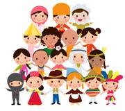 alla några objekt för ungar för den globala illustrationen för gemenskapelement individuella skalar formattexturer till vektorvär Arkivfoto
