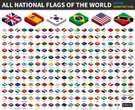 Alla nationsflaggor av världen isometrisk bästa design vektor royaltyfri illustrationer