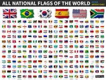 Alla nationsflaggor av världen Plan design för konstnärlig vattenfärgmålning vektor vektor illustrationer