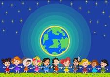 alla några objekt för ungar för den globala illustrationen för gemenskapelement individuella skalar formattexturer till vektorvär Royaltyfria Bilder