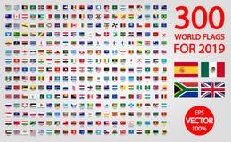 Alla officiella nationsflaggor av v?rlden Rund design stock illustrationer