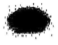 Alla personer i en gruppkontur Arkivbilder