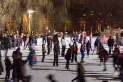 Alla pista di pattinaggio sul ghiaccio nella notte Fotografie Stock