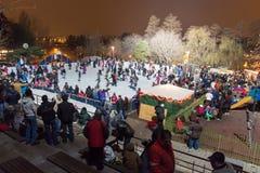 Alla pista di pattinaggio sul ghiaccio nella notte Immagine Stock Libera da Diritti