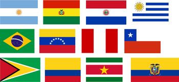 alla södra Amerika landsflaggor royaltyfri illustrationer