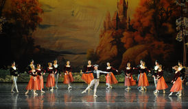 Alla samlad clowndans-balett svan sjö Royaltyfria Bilder