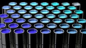 Alla skuggor av blått blöter målarfärg i en elegant samling av metallcans vektor illustrationer