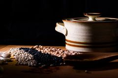 Alla sorter av bönor, bönakrukan och kryddor, varm hurtigt och sunt royaltyfri fotografi